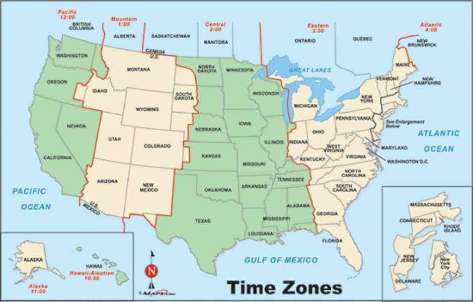 OnTimeZonecom Time Zones For The USA And North America Map Of Map - Map of the us zones